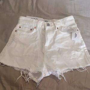 URBAN OUTFITTERS WHITE GIRLFRIEND HIGH RISE SHORTS